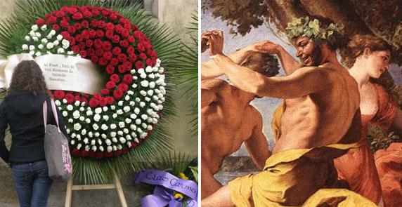 Corona funeraria e quadro Baccanale davanti alla statua di Pan