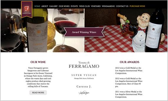 Home-page sito internet www.ferragamowiney.com